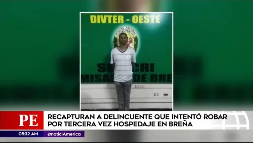 Breña: Capturan a criminal que intentó robar por tercera vez en hospedaje