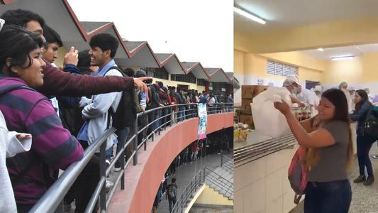 San Marcos: alumnos forman largas colas para recibir el tradicional 'almuerzo especial' por Navidad | VIDEO