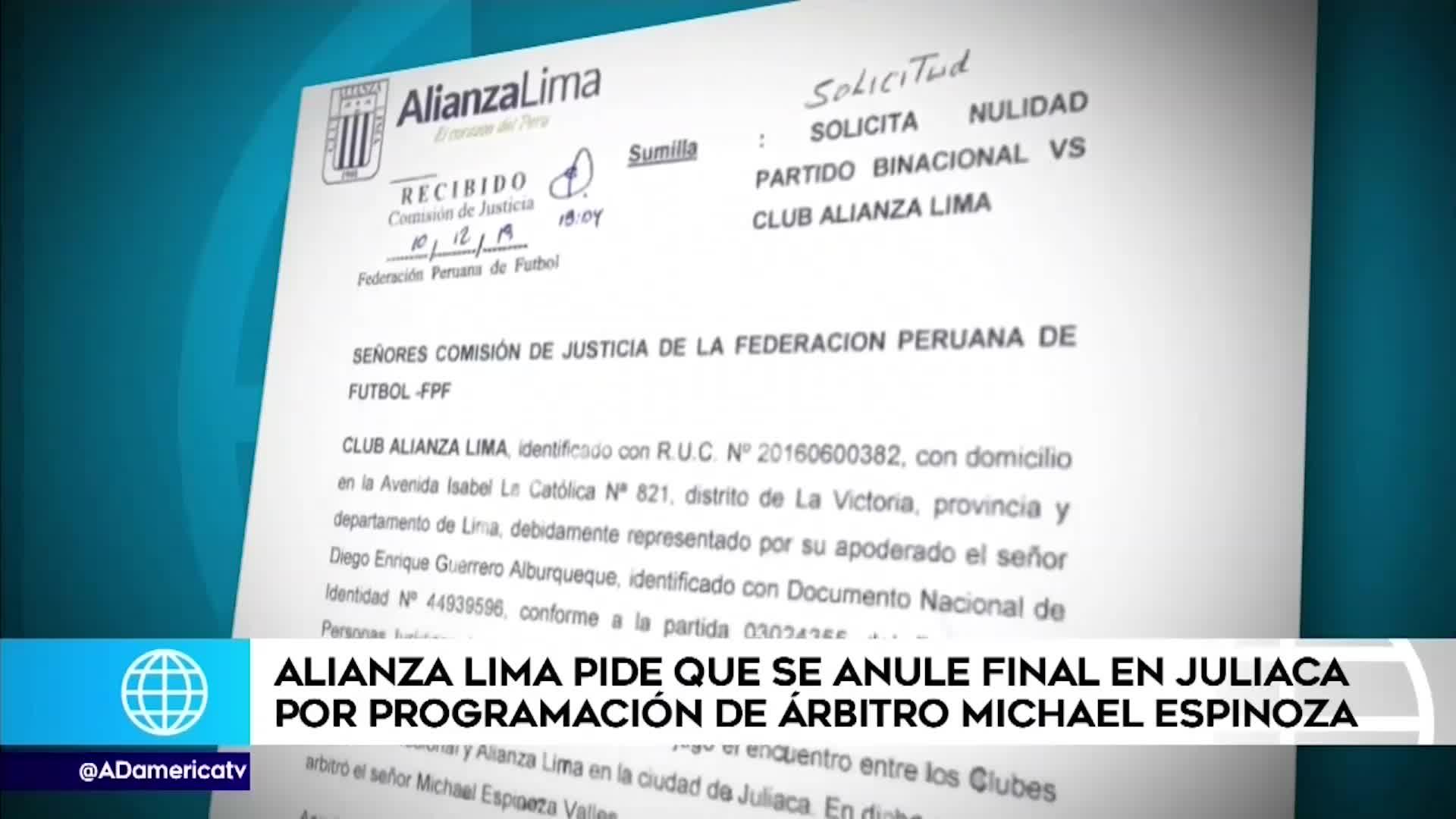 Alianza Lima solicitó la nulidad del partido ante Binacional en Juliaca