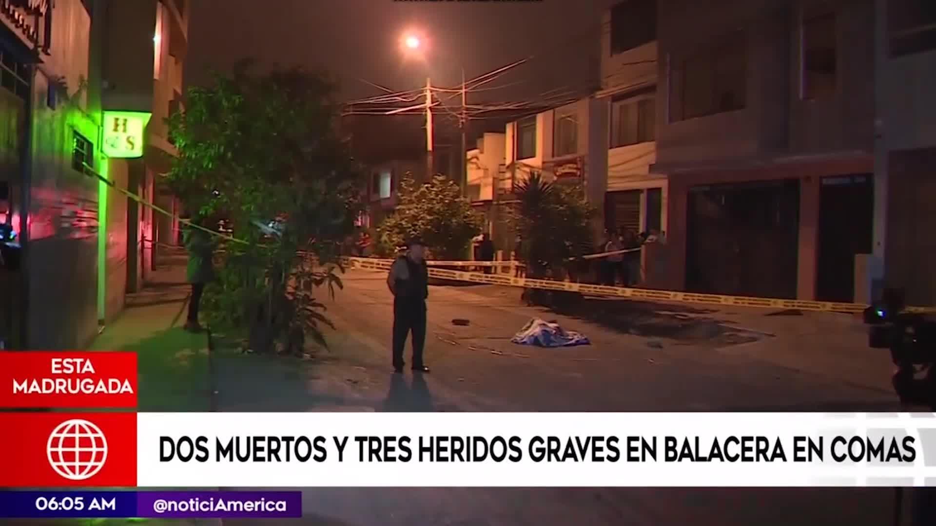 Comas: balacera dejó dos muertos y tres heridos