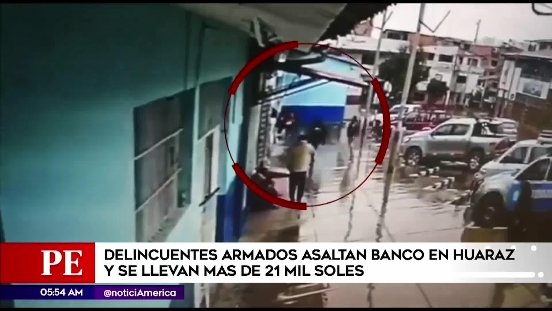 Huaraz: Delincuentes roban 21 mil soles de agencia de Banco de La Nación