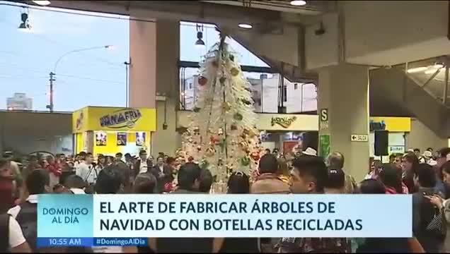 Ecología: árboles de plástico adornan estaciones del Metro de Lima
