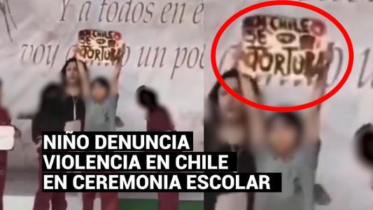 """""""En Chile se tortura"""": la denuncia de un niño en un acto de fin de año escolar"""